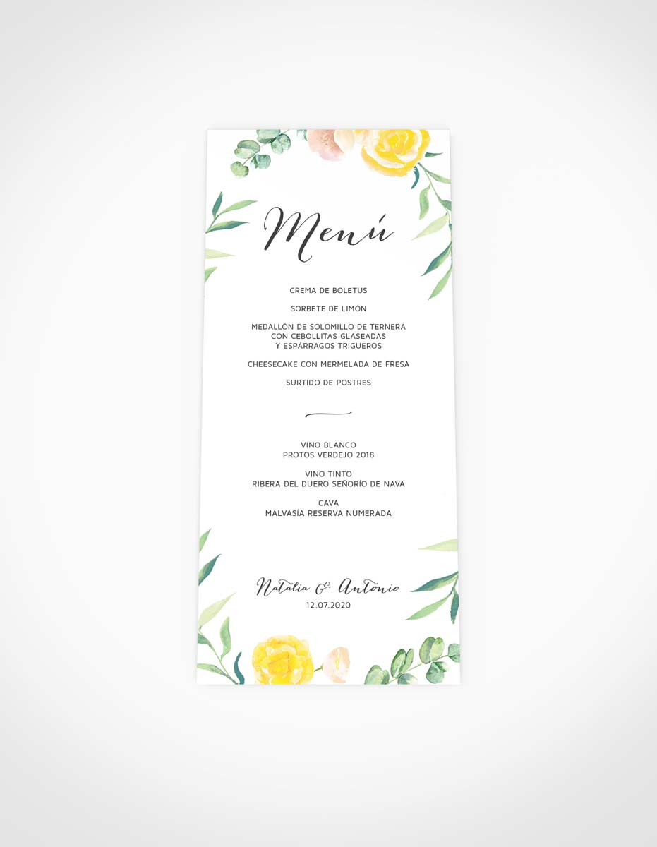 menu de boda comprar online