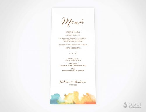 menu minuta boda con acuarela giset wedding