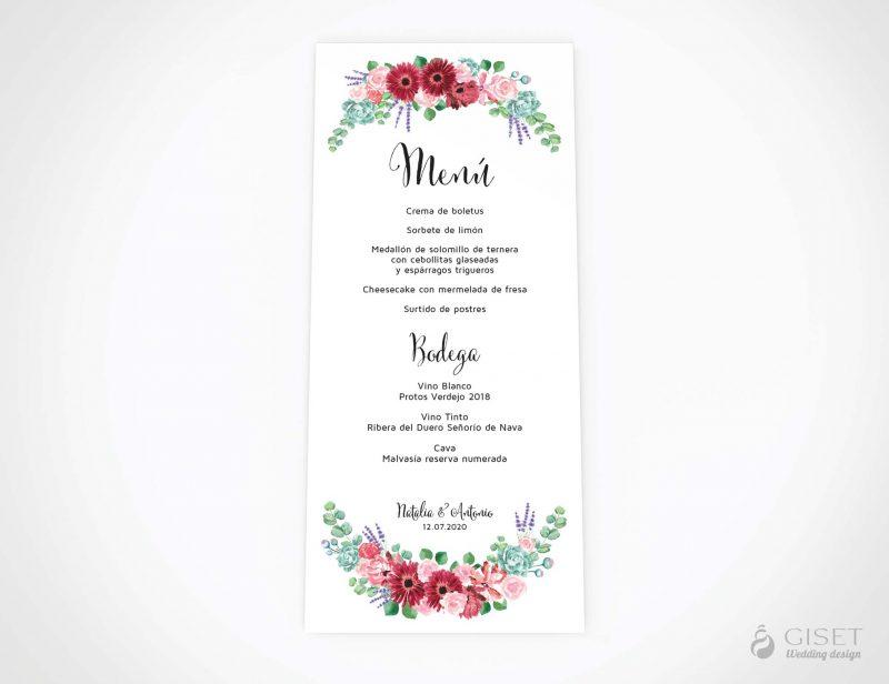 menu minuta boda con corona de flores en acuarela giset wedding