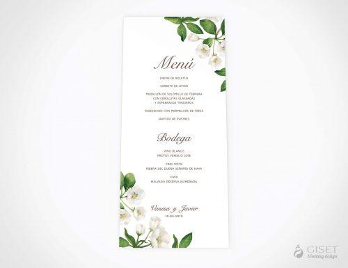 menu minuta boda con flores blancas en acuarela giset wedding