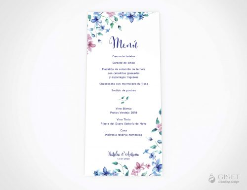 menu minuta boda con flores en acuarela azules y rosas giset wedding