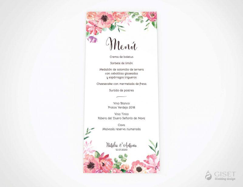 menu minuta boda con flores en acuarela giset wedding