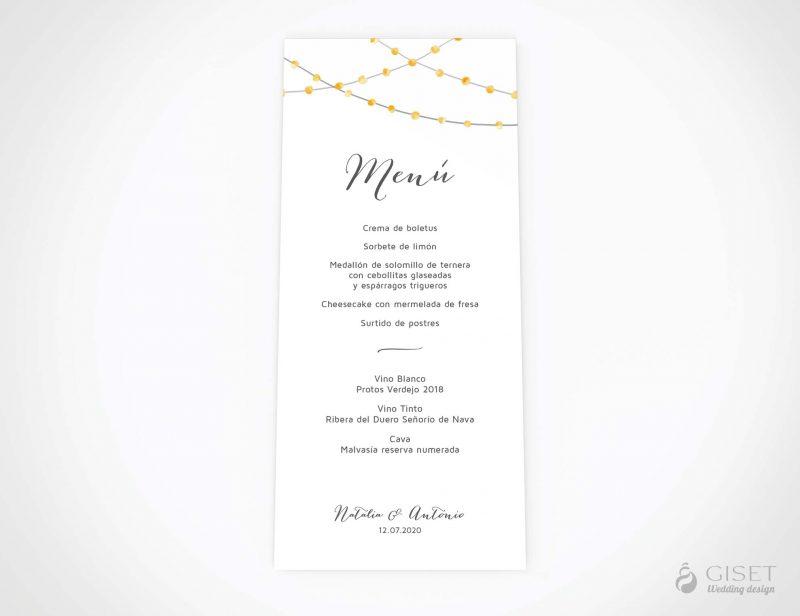 menu minuta boda con guirnaldas de luces acuarela giset wedding