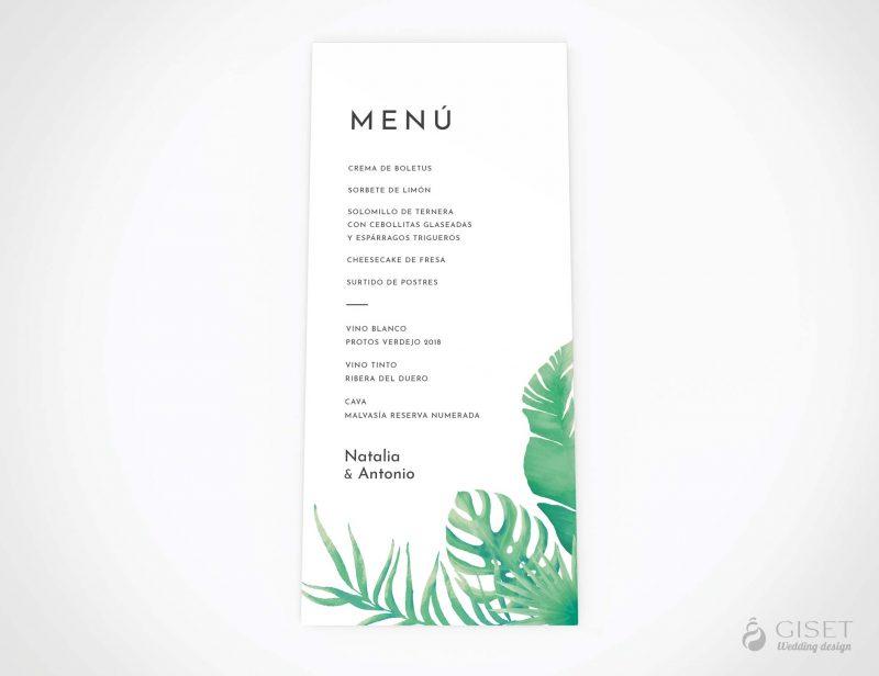menu minuta boda con hojas tropicales giset wedding