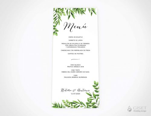 menu minuta boda con hojas verdes giset wedding 1