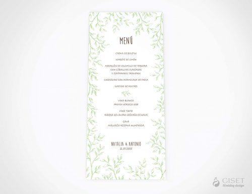 menu minuta boda con hojas verdes giset wedding