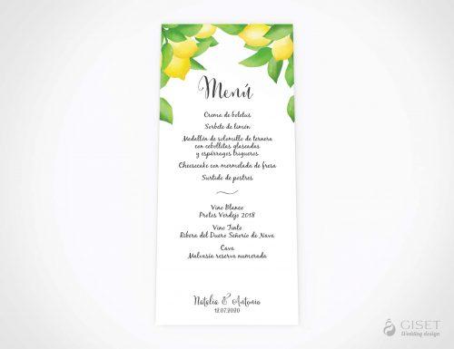menu minuta boda con limones giset wedding