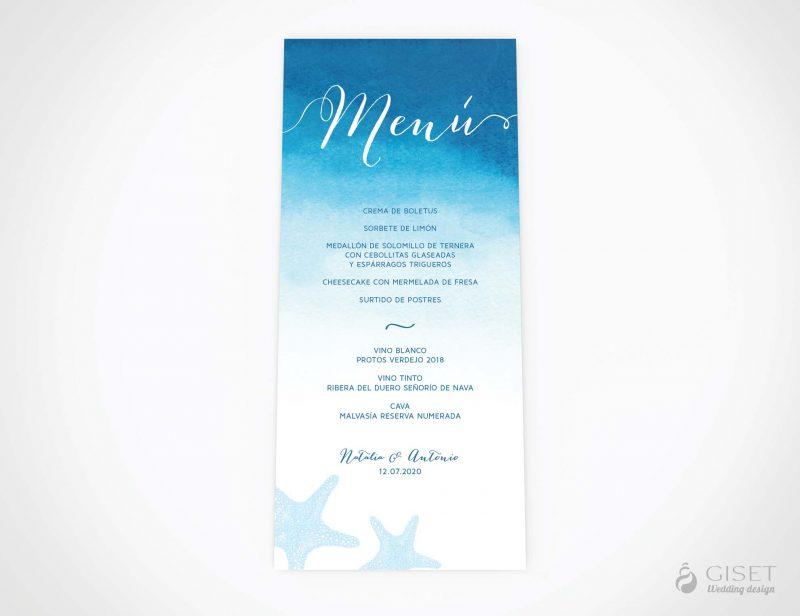 menu minuta boda en acuarela estilo marinero giset wedding