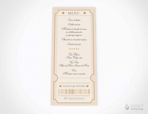 menu minuta boda entrada de cine giset wedding