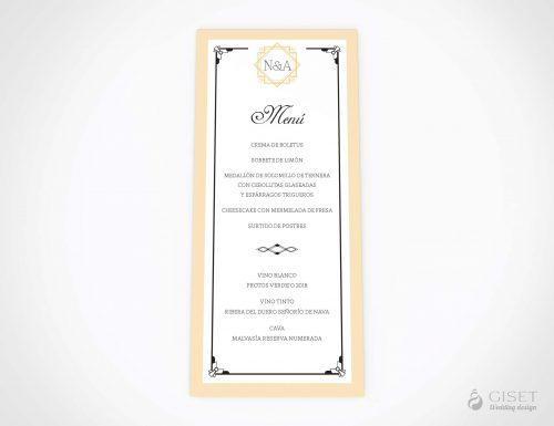 menu minuta boda estilo gatsby giset wedding