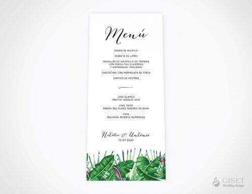 menu minuta boda estilo tropical giset wedding