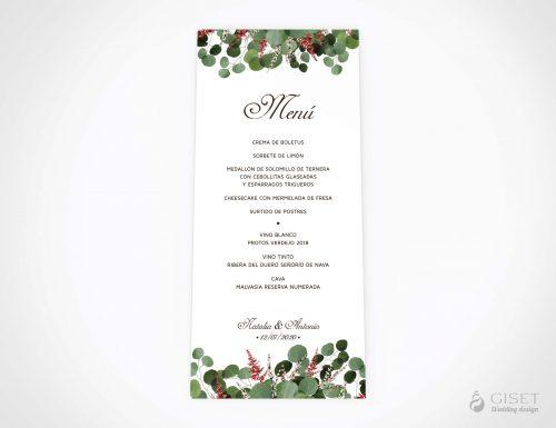 menu minuta boda hojas eucalipto giset wedding