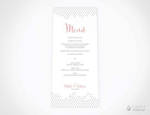 menu minuta boda sencillo con estampado de lunares giset wedding