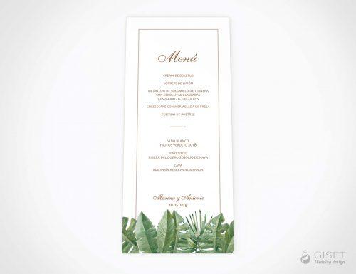 menu minuta boda tropical giset wedding