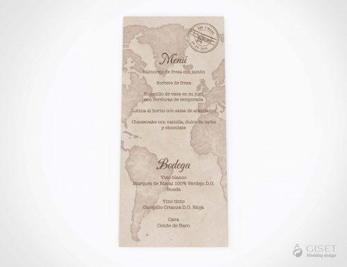 menu minuta boda viajero con mapamundi giset wedding