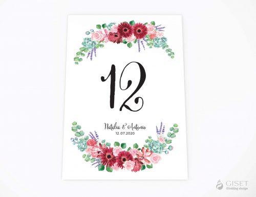 meseros de boda con corona de flores en acuarela giset wedding