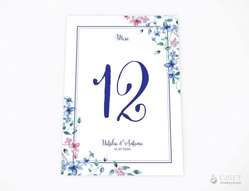 meseros de boda con flores en acuarela azules y rosas giset wedding 68