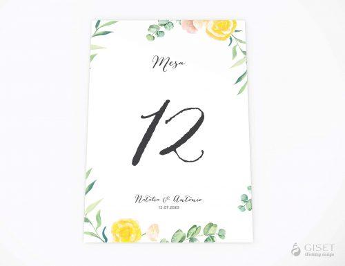 meseros de boda con flores en acuarela giset wedding