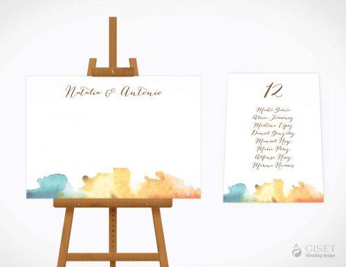 seating plan de boda con acuarela giset wedding