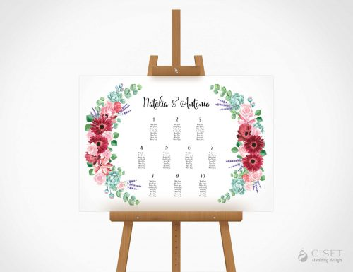 seating plan de boda con corona de flores en acuarela giset wedding