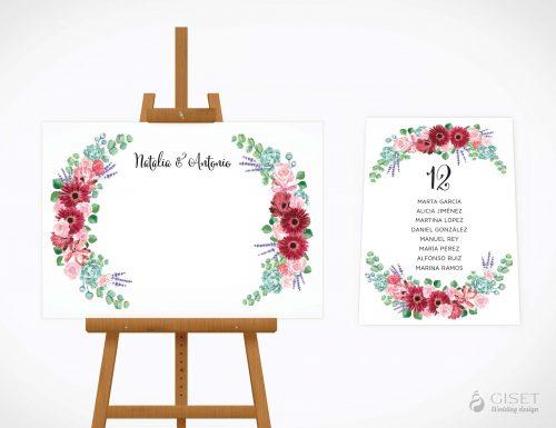 seating plan de boda con corona de flores en acuarela giset wedding