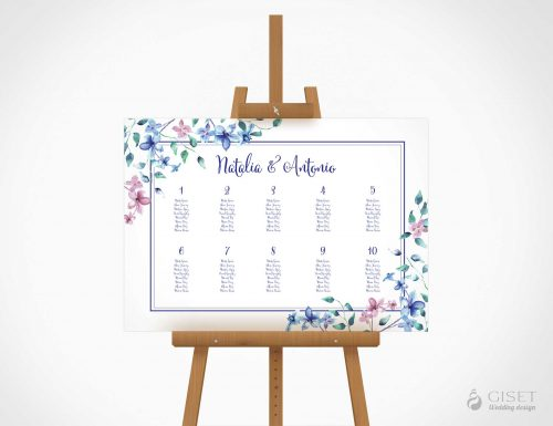 seating plan de boda con flores azules y rosas en acuarela giset wedding