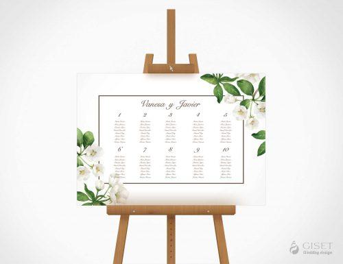 seating plan de boda con flores blancas en acuarela giset wedding