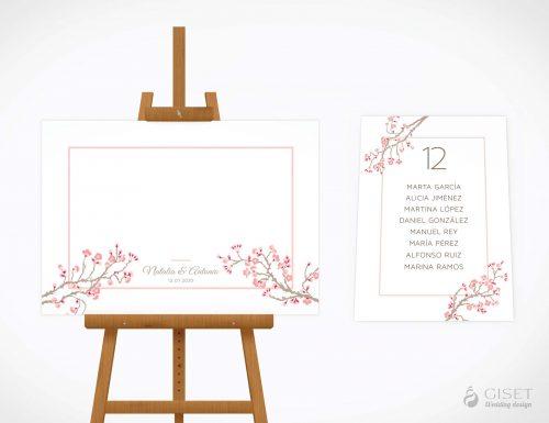 seating plan de boda con flores cerezos giset wedding