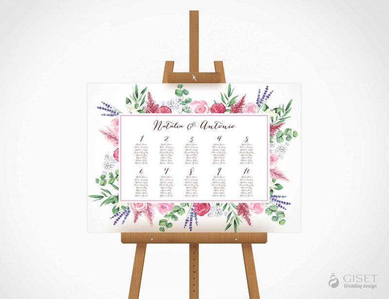 seating plan de boda con flores en acuarela giset wedding