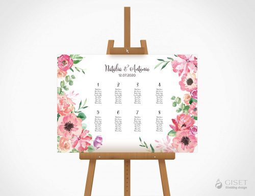 seating plan de boda con flores en acuarela giset wedding