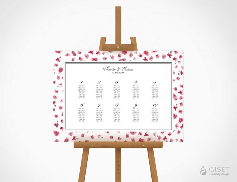 seating plan de boda con flores rosas giset wedding