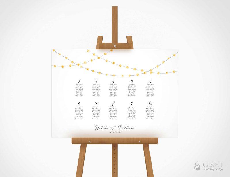 seating plan de boda con guirnaldas de luces en acuarela giset wedding