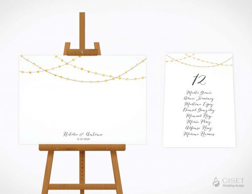seating plan de boda con guirnaldas de luces en acuarela giset wedding