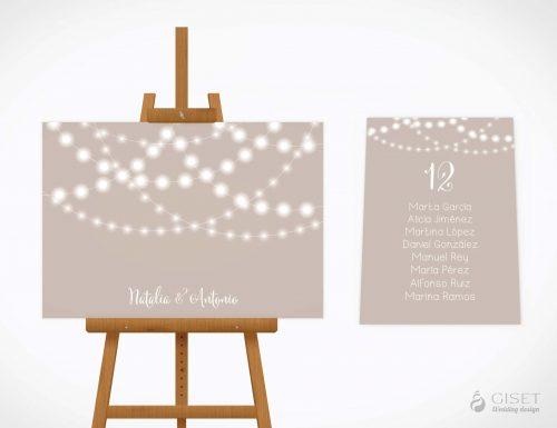 seating plan de boda con guirnaldas de luces giset wedding