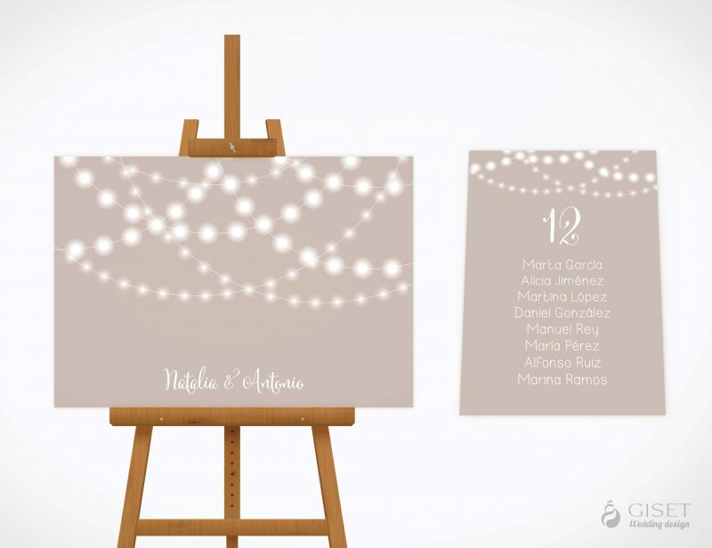 seating plan de boda con guirnaldas de luces giset wedding