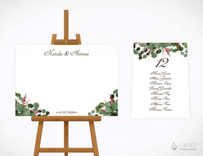 seating plan de boda con hojas de eucalipto giset wedding
