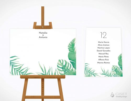 seating plan de boda con hojas tropicales giset wedding