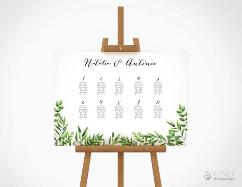 seating plan de boda con hojas verdes giset wedding
