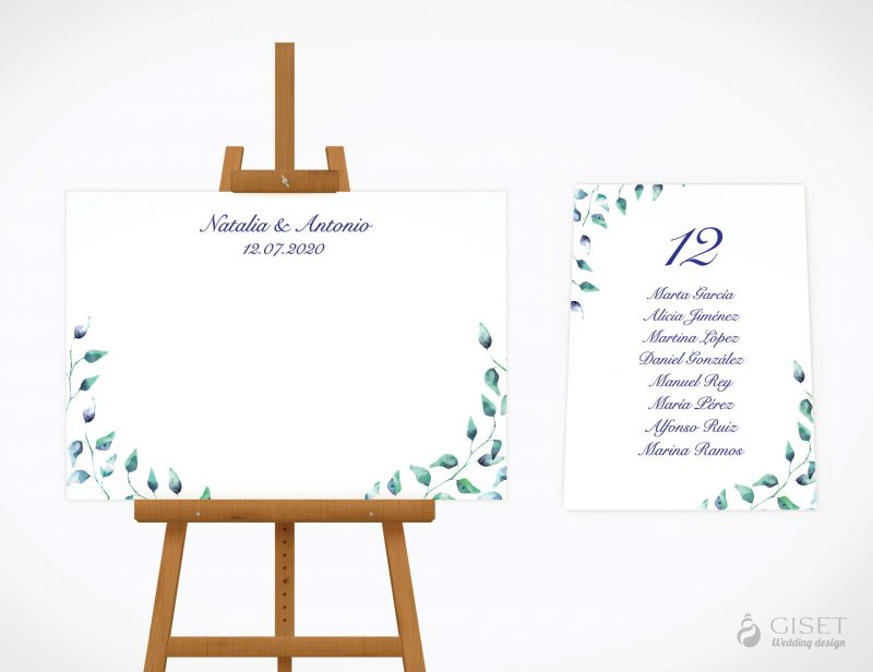 seating plan de boda con hojas verdes giset wedding