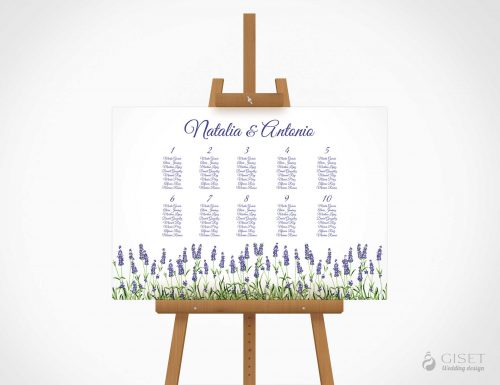 seating plan de boda con lavanda giset wedding