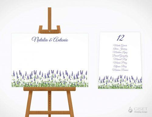 seating plan de boda con lavanda giset wedding