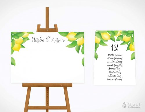 seating plan de boda con limones giset wedding