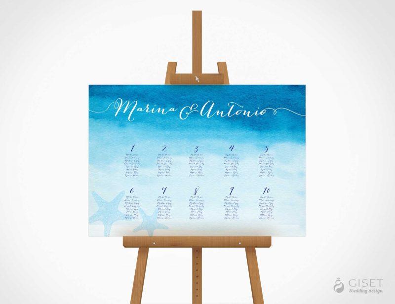seating plan de boda en acuarela estilo marinero giset wedding