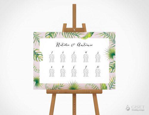seating plan de boda estilo tropical giset wedding