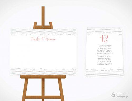 seating plan de boda sencillo con estampado de lunares giset wedding