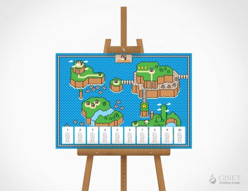 seating plan de boda tematica video juegos 8bit super mario giset wedding