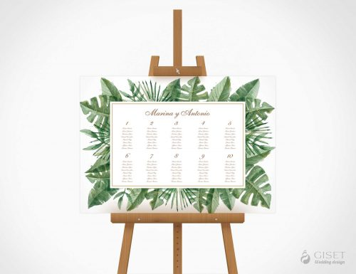 seating plan de boda tropicales giset wedding