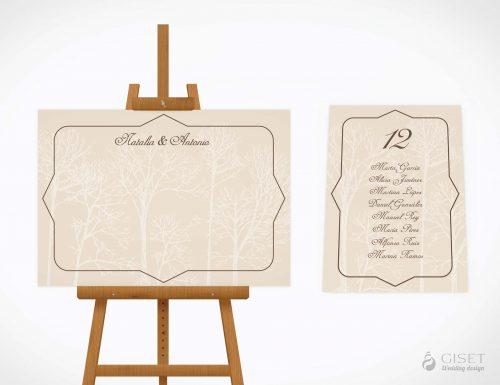 seating plan de boda vintage otoñal giset wedding